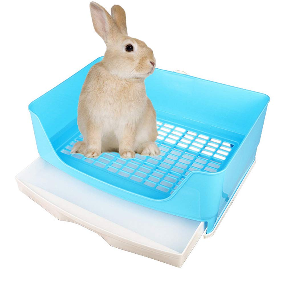 Amakunft Large Rabbit Litter Box with Drawer, Corner Toilet Box with Grate Potty Trainer, Bigger Pet Pan for Adult Guinea Pigs, Chinchilla, Ferret, Galesaur, Small Animals by Amakunft