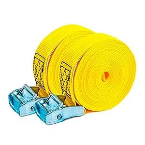 PONSA T35 -Cinta trincaje profesional -Trinquete - 2 unidades. Para amarrar cargas ligeras. Longitud 4m. RESISTENCIA 1000 kg (rotura real). 027048035108