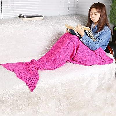 RuiWing Mermaid Tail Blanke, Hand Crochet Sleeping Bag Snuggle Mermaid Sofa Bed Blanket (Pale Pinkish Gray, 65 x 28 inch): Home & Kitchen