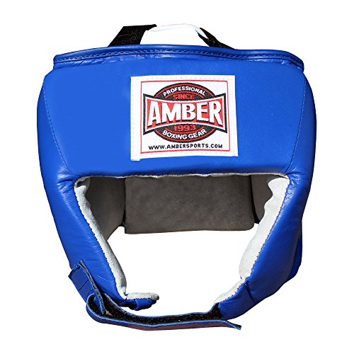 (Amber Fight Gear Amateur Competition Headgear Without Cheek Protectors Blue Small)