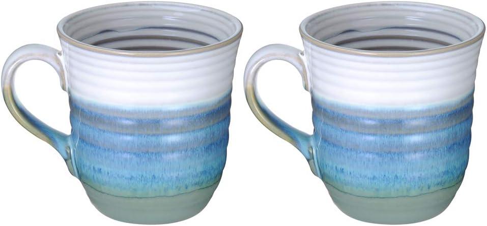 Ninepeak Handmade Ceramic Coffee Mug 17-Ounce,Seawave Blue, 2 Packs