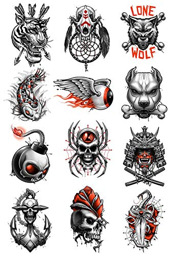 Black Gray and Red Temporary Tattoos Set of 12 - Anchor | Skull | Lone Wolf | Tiger Head | Spider - Back Shoulders Hands Tattoo Body Sticker For Kids -