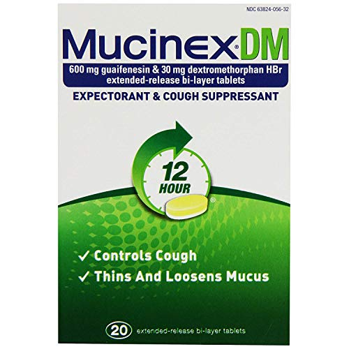 - Mucinex DM 12-Hour Expectorant and Cough Suppressant Tablets, 20 Count (Pack of 6)