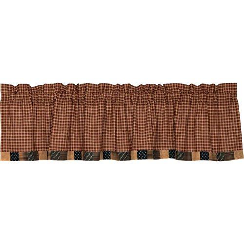 VHC Brands Americana Primitive Kitchen Window Curtains - Patriotic Patch Red Block Border - Curtain Americana