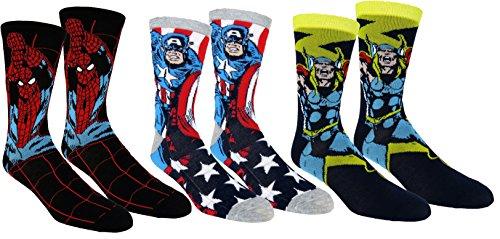 Marvel Mens Avengers Casual Crew Socks 3 Pair Pack
