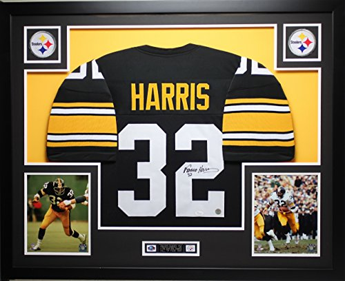 Signed Framed Steelers Jersey (Franco Harris Autographed Black Steelers Jersey - Beautifully Matted and Framed - Hand Signed By Franco Harris and Certified Authentic by Auto JSA COA - Includes Certificate of Authenticity)