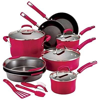 Hard Enamel 15-Piece Cookware Set Color: Red