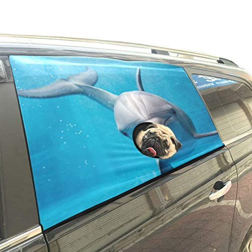 (Dolphin Ocean Friend Pet Dog Safety Car Part Vehicle Auto Window Fence Curtain Barriers Protector for Baby Kid Sun Shade Cover Universal Fit SUV)