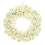 MIXNOVO Hydrangea Front Door Wreath for All Seasons 22Inch, Stunning Spring Summer Wreath for Front Door Wall Window Party Décor, Beautiful Gift Box Included (White)