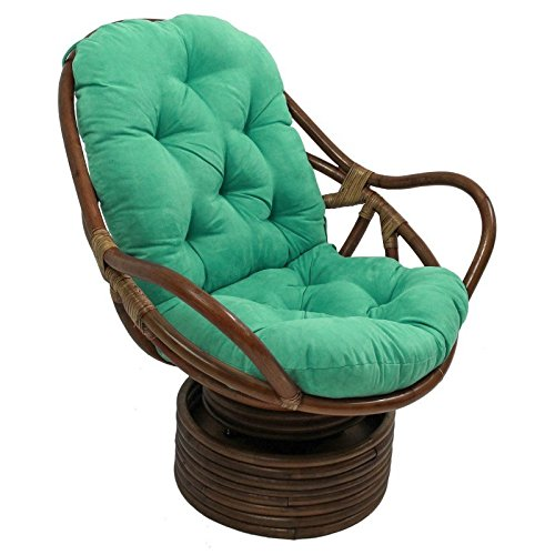 Micro Suede Rocker - International Caravan 3310-MS-EM-IC Furniture Piece Rattan Swivel Rocker with Micro Suede Cushion, Emerald