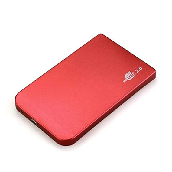 Carcasa Externa para Disco Duro 2,5 Pulgadas USB 2,0 IDE Ultra Delgada Sata HDD Estuche Portátil Rojo