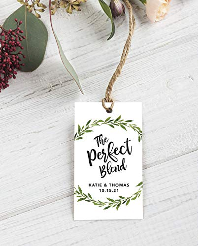 The Perfect Blend Wedding Favor Tags Greenery Wedding Tags Die-cut Paper Hang Tags Custom Gift Tags Coffee Favor Tags Greenery Favor Tags F1:27