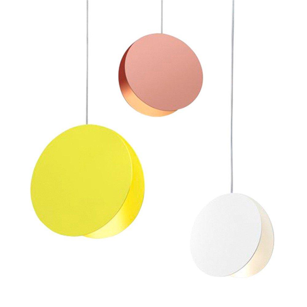 Cwill Foyer Pendelleuchten post moderne Esszimmer macaron bunte LED Droplight Runde Metall Wohnzimmer Schlafzimmer Dekoration Beleuchtung, Gelb, Dia 30cm