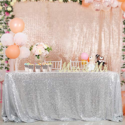 B-COOL 60X102 Inch Rectangle Silver Sequin Tablecloth Sequin Table Linens Glitter Tablecloth Wedding Sequin Tablecloth for Christmas