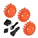 GOSTAR 3 Pack 16 LED Flashing Car Warning Light Rechargeable Safety Emergency Road Magnetic Base Car Boat Flare, 1 Quick Charge Car Cigarette lighter