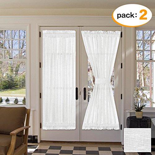 H.VERSAILTEX Elegant Soft Linen French Door Curtains Light Filtering Curtain Panel, Rod Pocket Door Panels - 52W by 72L Inches - White - 2 Panels - 2 Door Linen
