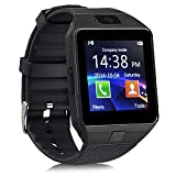 Padgene Bluetooth DZ09 Smartwatch Touch Screen with Pedometer Anti-Lost Camera Support Android Apple System (Black(with Balck Band))