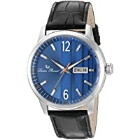 Lucien Piccard Men's 'Milanese' Quartz Stainless Steel and Leather Watch, Color:Black (Model: LP-40027-03)