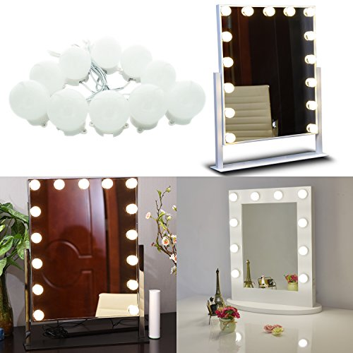 AIBOO Hollywood Super Star Style Makeup Mirror Vanity LED Light Bulbs Kit for Dressing Table Dimmable & Plug in, Linkable and Flexible Strip, Mirror Not Included (10 Bulbs Day White)