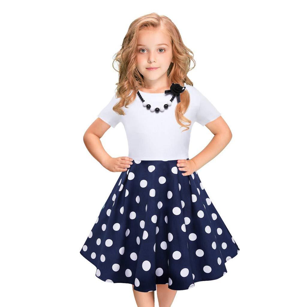 VICGREY Ragazza Senza Maniche Vintage Vestito Rockabilly Polka DOT Swing Abiti da Festa Vestito Bambino Ragazza Elegante Vestito Principessa Partito Abiti