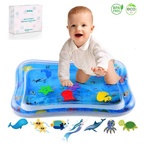 iBeleby Inflatable Tummy Time Water Mat, Mermaid Baby Playmat - Fun Time Play Activity Center for Infants & Toddlers, Baby Toys 6 to 12 Months, Improve Early Brain Development & Stimulation Growth
