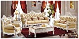 Ma Xiaoying Antique Furniture, European Living Room Sets,Leather and Luxury Classical Collection 4pc:(Sofa ,Chair and Loveseat.)Light yellow by Ma Xiaoying