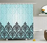 Damask Decor Shower Curtain Set By Ambesonne, Modern Damask Motif With Symmetric Lines Artsy Royal Baby Color Bold Floral Pattern Art, Bathroom Accessories, 69W X 70L Inches, Blue Black