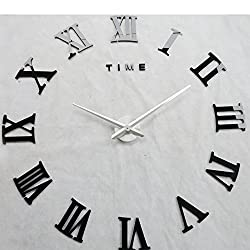 Time Letters Roman Numerals Large Size Modern DIY Frameless 3D Big Mirror Surface Wall Clock Oversized Clock Removable Home Decoration Living Room Décor Wall Sticker Meeting Room Watches Decor (Black)