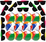 Summer Party Favors Set, 1 Dozen Inflatable Beach Balls 12'', 12 Neon Sunglasses Bright Colors, Great Beach and Pool Parties Supplies for Kids Boys & Girls, Water Fun, By 4E's Novelty