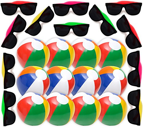 Summer Party Favors Set, 1 Dozen Inflatable Beach Balls 12'', 12 Neon Sunglasses Bright Colors, Great Beach and Pool Parties Supplies for Kids Boys & Girls, Water Fun, By 4E's -