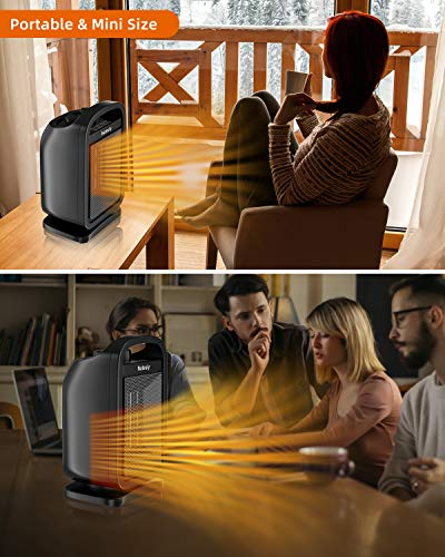 Portable Space Heater, 1500W Electric Ceramic Heater with Thermostat for Office, Tip-Over and Overheat Protection for Indoor/Desktop/Bedroom