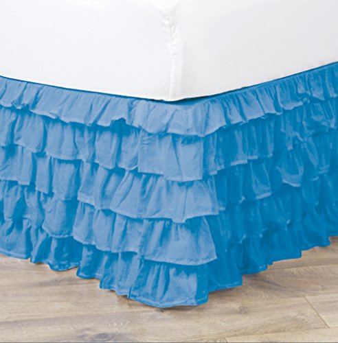 Empire Home Pleated Ruffled Bed Skirt Solid Dust Ruffle All Sizes 9 Colors (Twin Size, Light Blue)
