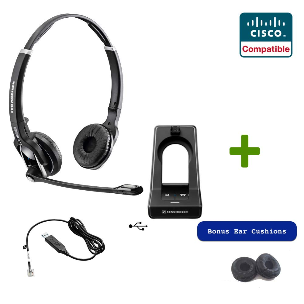 Sennheiser SD PRO2 - Stereo (Duo) Deskphone Cordless Headset with Cisco EHS Adapter | Compatible Cisco Models: 7821, 7841, 7861, 7942g, 7945g, 7962g, 7965g, 7975g, 8811, 8841, 8845, 8851, 8861, 8865