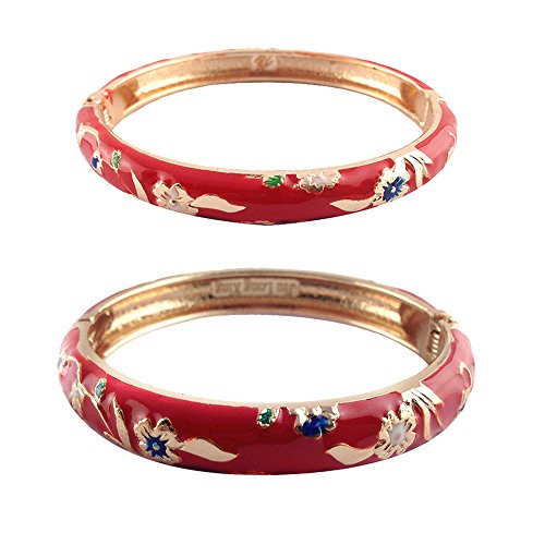 Enamel Hinged Cuff - UJOY Cloisonne Bangle Bracelet Flower Enamel Hinged Metal Cuff Bracelets Sets Jewelry Box Gift for Women 55B31 red