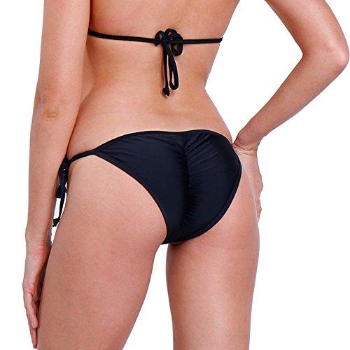Cross1946 Sexy Brazilian Ruched Semi Thong Bikini Bottom Women Tie Side By Ups M Black