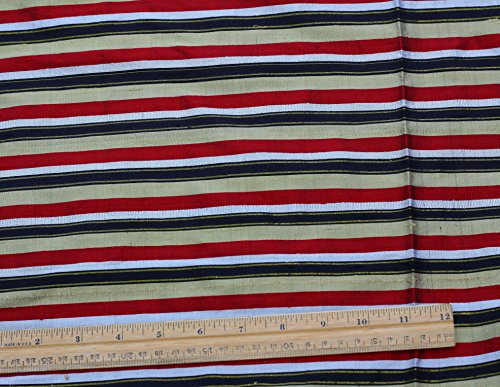 (Red & Black & Gold Dupioni Stripes, 100% Silk Fabric, By The Yard, 44