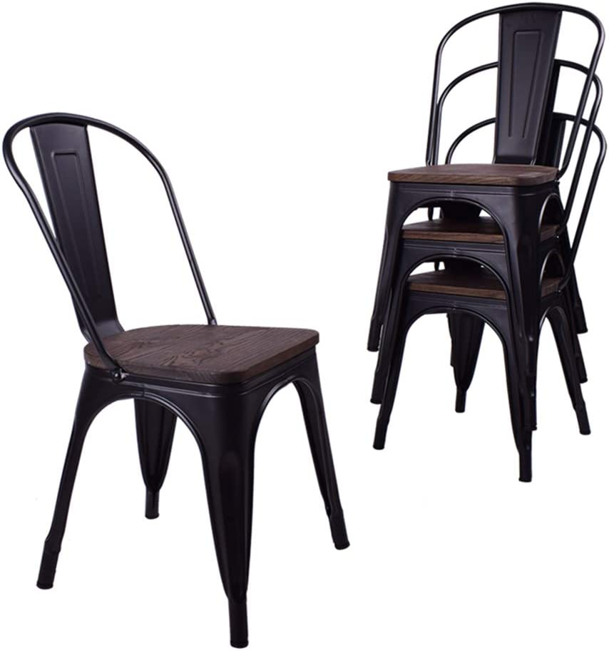 Metal Dining Chairs, Black Metal Retro Stackable Dining Chairs with Wooden Seat Indoor Outdoor Rustic Bistro Cafe Chairs with Back Set of 4