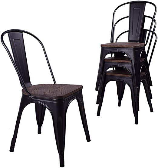 Amazon Com H Jinhui Black Metal Dining Chairs With Wood Seat Top For Indoor Outdoor Use Stackable Side Chairs For Farmhouse Bistro Cafe Trattoria Set Of 4 Kitchen Dining