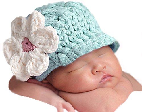 Melondipity's Baby Girl Blue Chunky Flower Visor Beanie (6-12 (Chunky Visor)