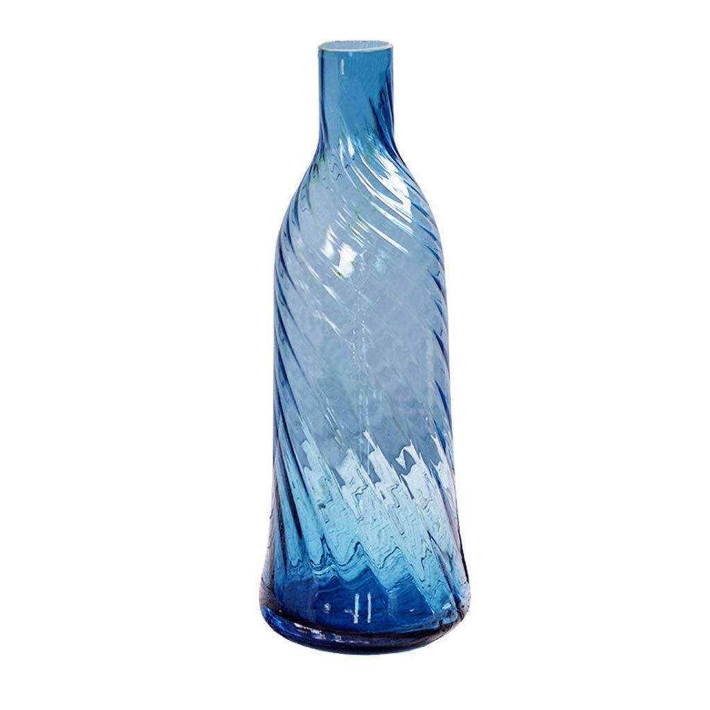 細口ガラス花瓶シンプルな透明な青いガラス瓶ホームリビングテーブルフラワーインサータードライフラワーオーナメントオーナメントガラスオーナメント B07S9FDV6Z