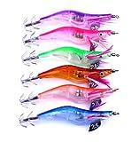 Fishcm 6pcs/lot Electronic Plastic Shrimp Lure Luminous Squid Jig Hook 12g 10.5cm For Sale