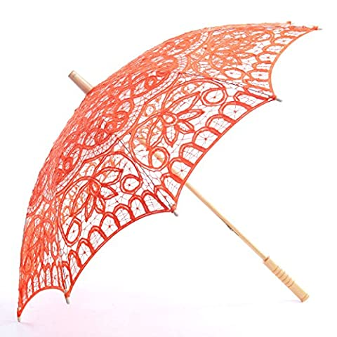 Topwedding Classic Cotton Lace Parasol Umbrella Bridal Shower Decoration, Orange (Theatrical Umbrella)