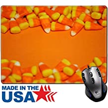 """MSD Natural Rubber Mouse Pad/Mat with Stitched Edges 9.8"""" x 7.9"""" candy corn borders on an orange background 16174131 Customized Desktop Laptop Gaming Mouse Pad"""