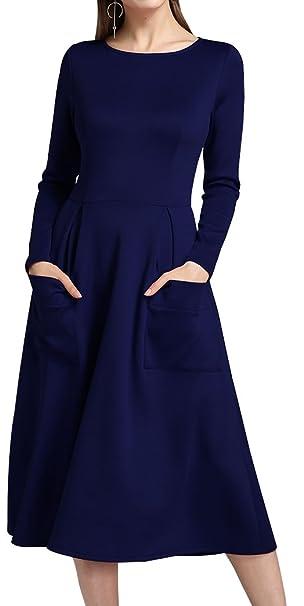 Yeesea Mujer Vestidos de Fiesta Vintage Elegantes Manga Larga Dress: Amazon.es: Ropa y accesorios