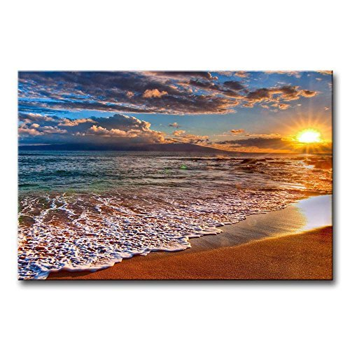 Sun Oil Painting - Wall Art Painting Beach Sunrise White Wave Prints On Canvas The Picture Seascape Pictures Oil For Home Modern Decoration Print Decor For Items