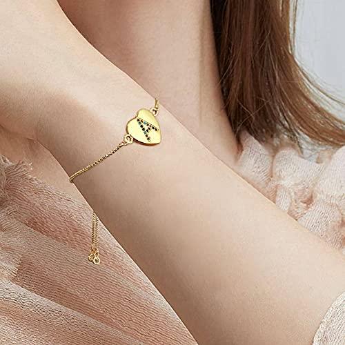 UHIBROS Heart Initial Bracelet for Women, 14K Gold Plated Love Heart Charm Monogram Bracelet , Dainty A to Z Letter Initial Bracelet for Teen Girls-D