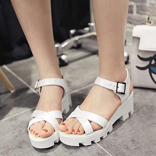 TAOFFEN Mujer Zapatos Comodo Talond Medio Plataforma Sandalias De Hebilla Blanco