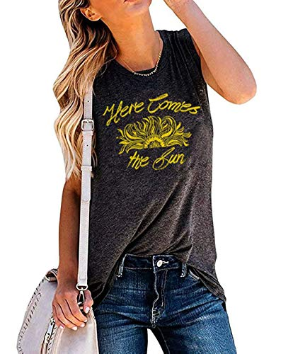 (Here Comes The Sun Sunflower Tank Tops Women's Summer Sleeveless Cute Funny Graphic Tees T Shirts Size XL (Dark Grey))