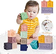 Mini Tudou Baby Blocks Soft Building Blocks Toys Educational Squeeze Teether Montessori Toy w/ Numbers Animals
