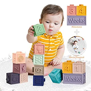 Mini Tudou 14 PCS Baby Blocks Soft Building Blocks Toys w/ Milestone Blocks & Play Mat, Educational Squeeze Teether Montessori Toy w/ Numbers Animals Shapes Textures for Babies Toddlers Boys & Girls